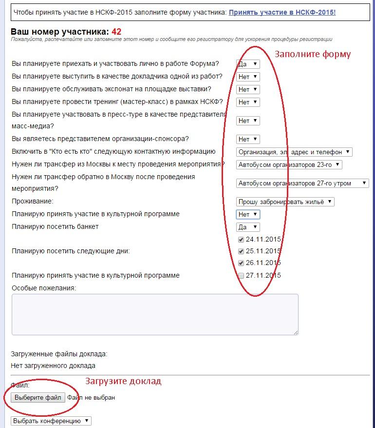 Заполнение формы и загрузка доклада